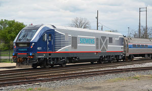 amtrak test train with siemens charger locomotive no. 4611 departing the station jackson, michigan may 5, 2017 d. leffler