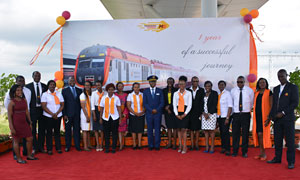 The KR team led by the MD in captains hat pose for a picture at the Nairobi Terminus
