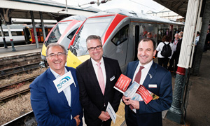 new trains launch 4 sep ltor mark swindell, thomas ahlburg, jamie burles